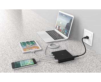 Kraftig vegglader med både USB C og USB A kontakt | Usb