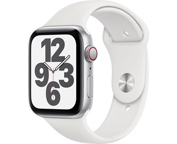 Apple Watch SE GPS + Cellular, 44mm Silver Aluminium Case with White Sport Band - Regular