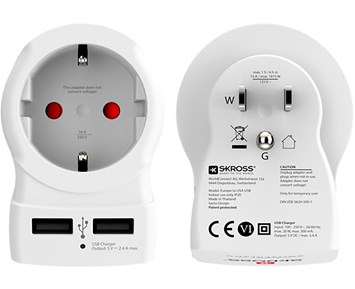 SKROSS Country Travel Adapter - Europe to USA USB