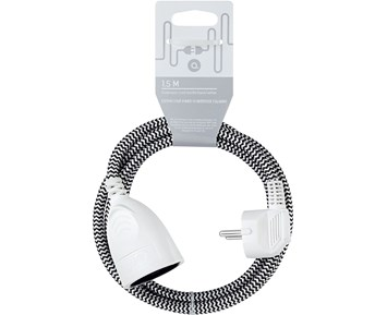 Andersson Extension cord textile black/white, 1.5m