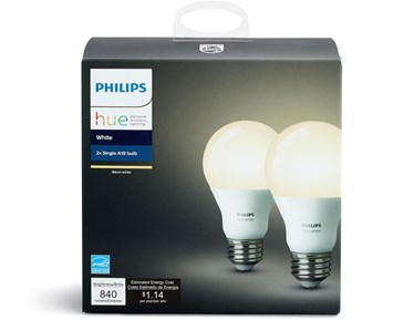 philips hue e27 vit 9 5w 2pack 2 hvite led lamper til philips hue system. Black Bedroom Furniture Sets. Home Design Ideas