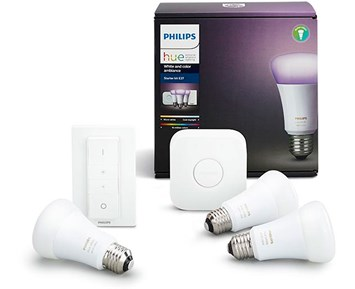 philips hue kit e27 farge 10w philips hue startpakke for smart hjemmebelysning. Black Bedroom Furniture Sets. Home Design Ideas