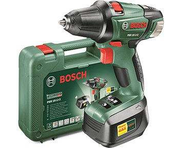 bosch psr 18 li 2 2x2 0ah batteridrevet drill inklusiv to batterier. Black Bedroom Furniture Sets. Home Design Ideas