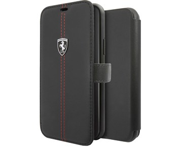 Ferrari Genuine Leather Booktype case w/ stand Black for Apple iPhone 11