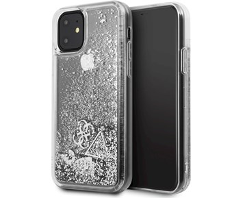 GUESS Glitter Case Hearts Silver for Apple iPhone 11