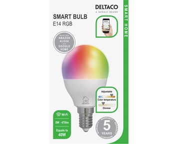 Deltaco Smart E14 RGB C45 Bulb 5W 470lm 1-pack