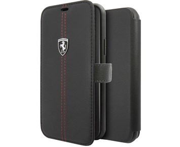 Ferrari Genuine Leather Booktype case w/ stand Black for Apple iPhone 11 Pro