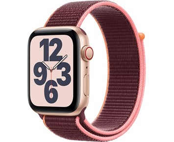 Apple Watch SE GPS + Cellular, 44mm Gold Aluminium Case with Plum Sport Loop