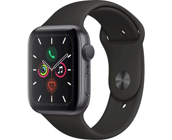 Apple Apple Watch Series 5 GPS, 44mm Space Grey Aluminium Case with Black Sport Band