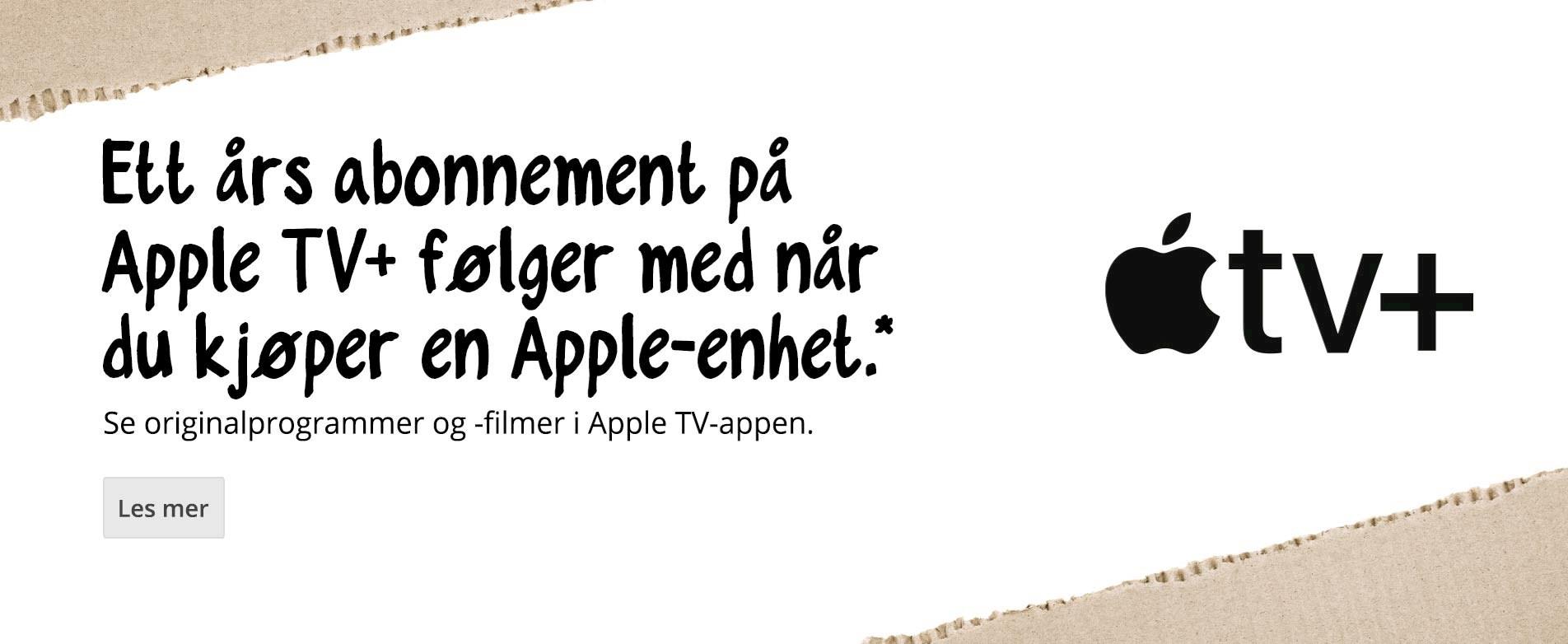 Få ett års abonnement på Apple TV+ når du kjøper en kvalifisert Apple-enhet.