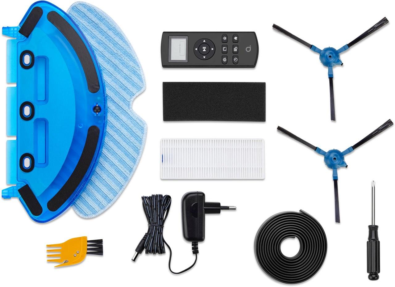Robotstøvsugeren RVC 2.2 leveres med tilbehør som bl.a. fjernkontroll.