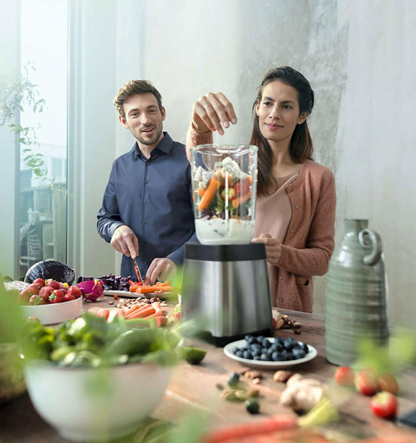 Lag sunn og god mat og smoothies i en blender
